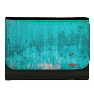 Weathered turquoise concrete wall texture leather wallet for women