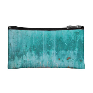 Weathered turquoise concrete wall texture makeup bag