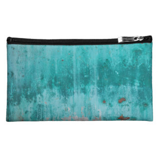 Weathered turquoise concrete wall texture makeup bags