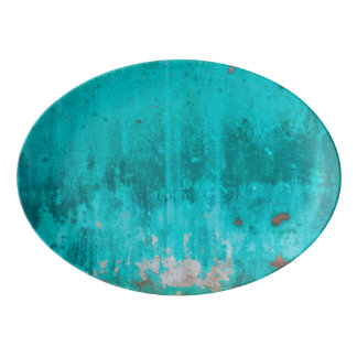 Weathered turquoise concrete wall texture porcelain serving platter