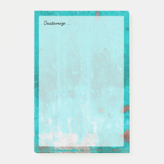 Weathered turquoise concrete wall texture post-it notes
