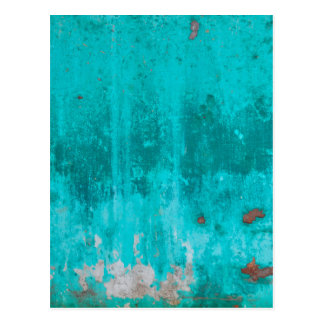 Weathered turquoise concrete wall texture postcard