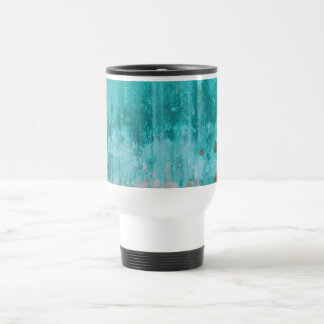 Weathered turquoise concrete wall texture travel mug