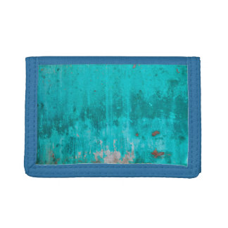Weathered turquoise concrete wall texture tri-fold wallet