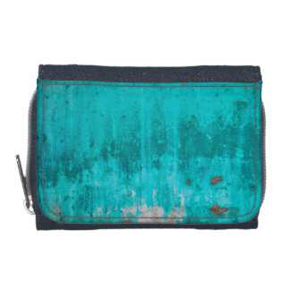 Weathered turquoise concrete wall texture wallet