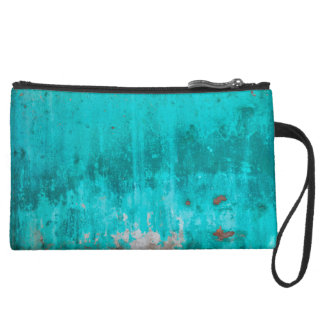 Weathered turquoise concrete wall texture wristlet purse