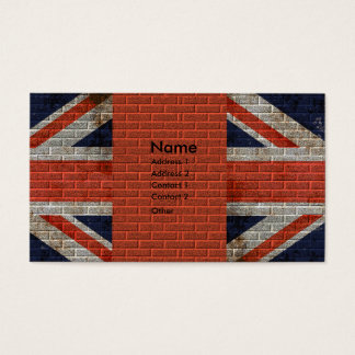 Weathered Union Jack on brick wall Business Card