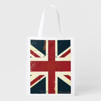 Weathered Union Jack Reusable Grocery Bag