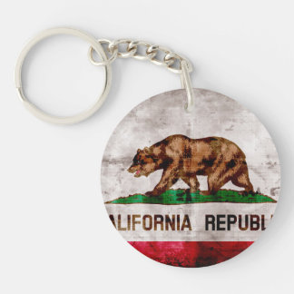 Weathered Vintage California State Flag Double-Sided Round Acrylic Keychain