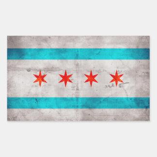 Weathered Vintage Chicago State Flag Sticker