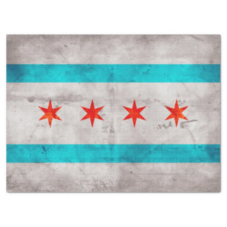 Weathered Vintage Chicago State Flag Tissue Paper