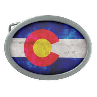 Weathered Vintage Colorado State Flag Belt Buckles