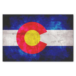 Weathered Vintage Colorado State Flag Tissue Paper