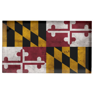 Weathered Vintage Maryland State Flag Table Card Holder