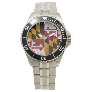 Weathered Vintage Maryland State Flag Wrist Watch