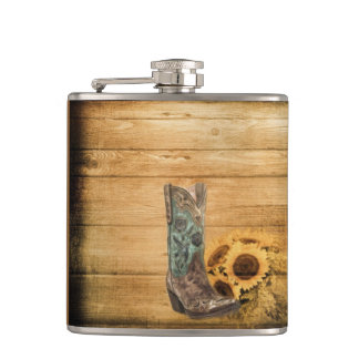 Weathered Western Country sunflower cowboy boot Hip Flask