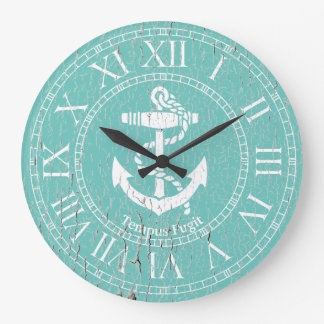 Weathered White Anchor Personalize Clocks