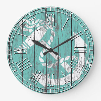 Weathered White Anchor Wall Clocks