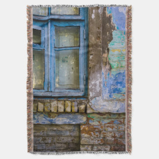 Weathered Window on a Cracked Brick Wall Throw Blanket