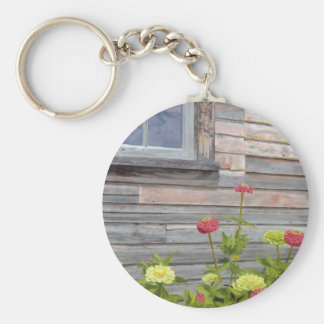 Weathered wood and Zinnias Basic Round Button Keychain