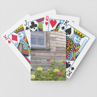Weathered wood and Zinnias Bicycle Playing Cards