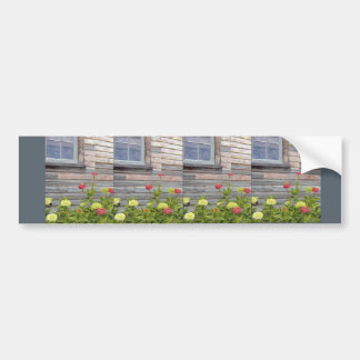 Weathered wood and Zinnias Bumper Sticker
