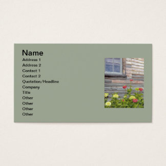 weathered wood and zinnias business card