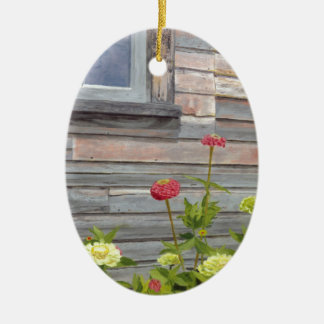Weathered wood and Zinnias Ceramic Oval Ornament