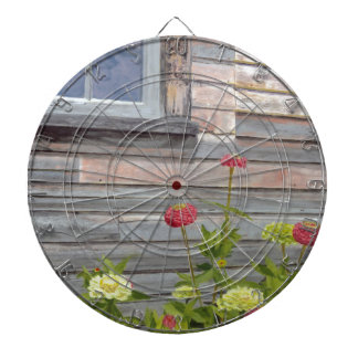 Weathered wood and Zinnias Dartboard