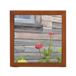 weathered wood and zinnias desk organizer