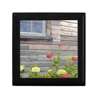 Weathered wood and Zinnias Gift Box