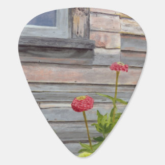 weathered wood and zinnias guitar pick