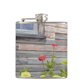 weathered wood and zinnias hip flask