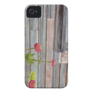 weathered wood and zinnias iPhone 4 covers