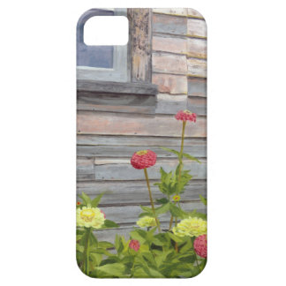 Weathered wood and Zinnias iPhone 5 Cover