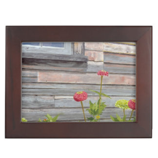 weathered wood and zinnias keepsake box