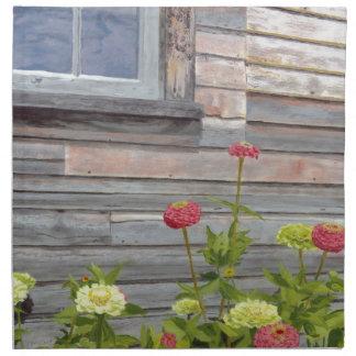 Weathered wood and Zinnias Napkin