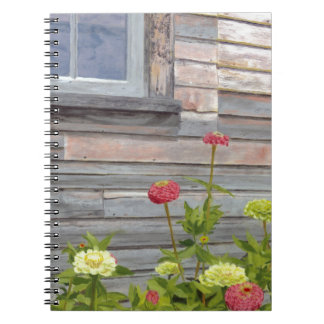 Weathered wood and Zinnias Notebook