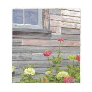 Weathered wood and Zinnias Notepad