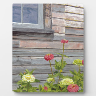 Weathered wood and Zinnias Plaque