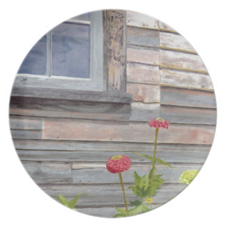 Weathered wood and Zinnias Plate