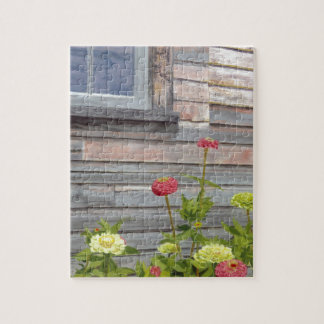 Weathered wood and Zinnias Puzzles