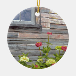 Weathered wood and Zinnias Round Ceramic Ornament