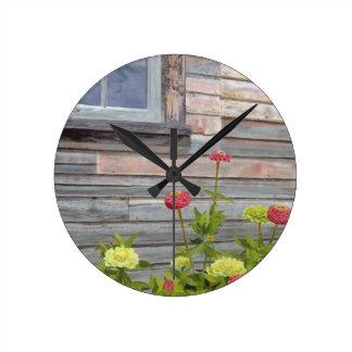 Weathered wood and Zinnias Round Clock