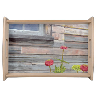weathered wood and zinnias serving tray
