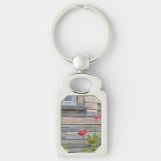 weathered wood and zinnias Silver-Colored rectangle keychain