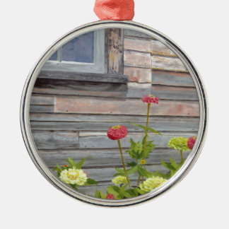 Weathered wood and Zinnias Silver-Colored Round Ornament