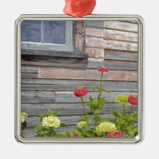 Weathered wood and Zinnias Silver-Colored Square Ornament