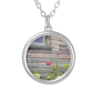 Weathered wood and Zinnias Silver Plated Necklace