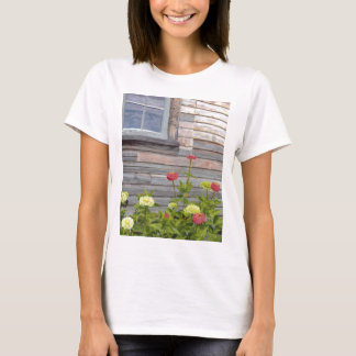 Weathered wood and Zinnias T-Shirt